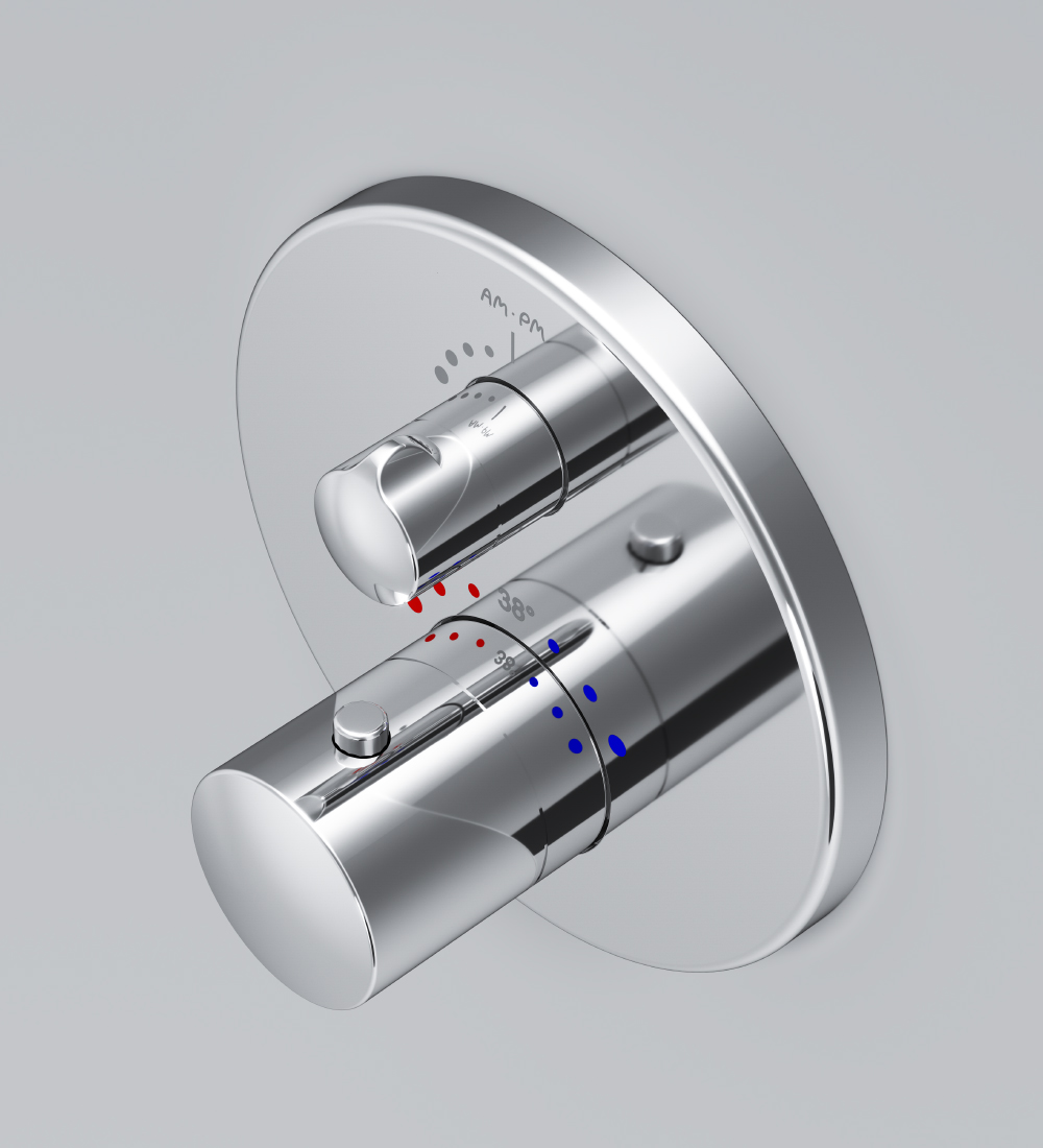 F8085500 Thermostatic dual outlet mixer for concealed installation